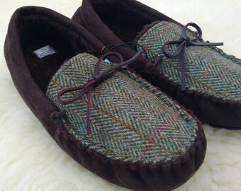 Harris Tweed Mens Moccasins slippers - FREE WORLDWIDE SHIPPING -with durable sole - green herringbone - Made in Ireland - ready for shipping