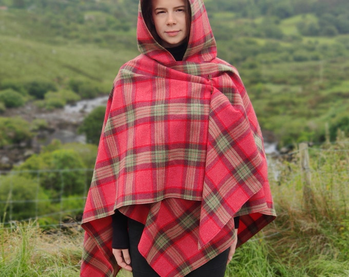 Irish super soft lambswool hooded ruana, wrap, arisaid - pink/green/purple plaid check, tartan - HANDMADE IN IRELAND