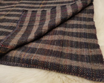 "Pure new wool Queen size bed throw / blanket -chunky & heavy  navy/grey  with multicolour stripes - 90"" X 100"" - 100% wool - MADE IN IRELAND"