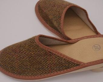 Womens Irish tweed & leather slippers - brown/bronze herringbone with overcheck - MADE IN IRELAND