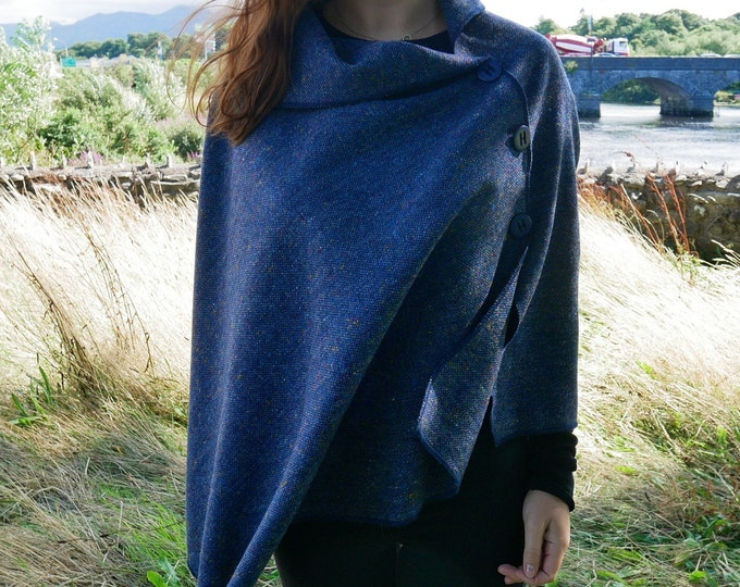 Versatile 3in1 - Irish tweed poncho, cape & shawl - speckled navy/blue - melange - ready for shipping - HANDMADE IN IRELAND