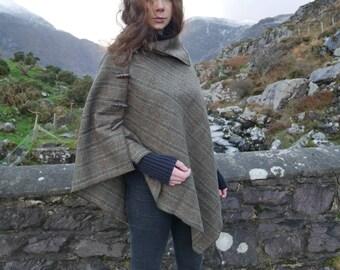 Versatile 3in1-Irish tweed wool poncho, cape & shawl - green Irish tartan / plaid check -100% wool - HANDMADE IN IRELAND