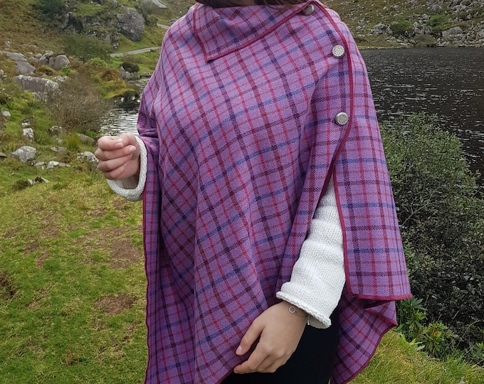 Irish soft lambswool poncho, cape, shawl in 1 piece! pink with multicolour check - 100% pure new wool - HANDMADE IN IRELAND
