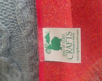 Irish tweed wool scarf -100% pure new wool - orange red - hand fringed - HANDMADE IN IRELAND