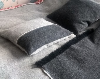 Irish tweed 100 % wool reversible throw and two cushions covers set for double bed - FREE WORLDWIDE SHIPPING - Handmade in Ireland