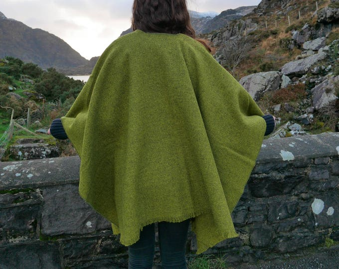 Irish tweed wool ruana, wrap, cape, coat, arisaid- lime green / grey - 100% wool - ready for shipping - HANDMADE IN IRELAND