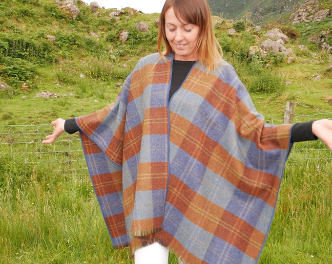 Irish tweed wool ruana, wrap, arisaid - burnt orange & blue tartan, plaid , check - HANDMADE IN IRELAND