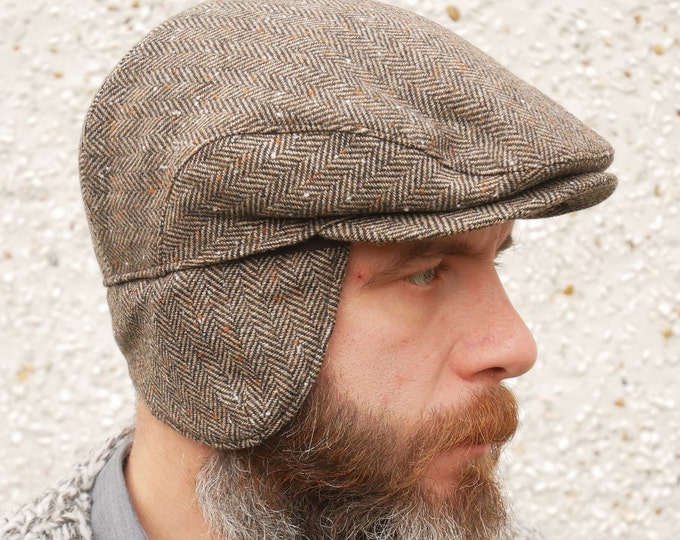 Traditional Irish tweed flat cap with foldable ear flaps-brown speckled herringbone - 100% wool - padded - HANDMADE IN IRELAND