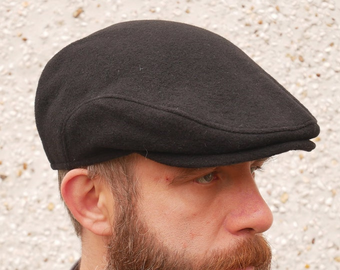 Traditional Irish tweed flat cap - black - 100% wool -padded - ready for shipping - HANDMADE IN IRELAND