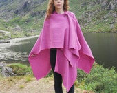 Irish tweed wool ruana, wrap, cape, coat, arisaid - pink - 100 wool - heavy weight fabric - HANDMADE IN IRELAND