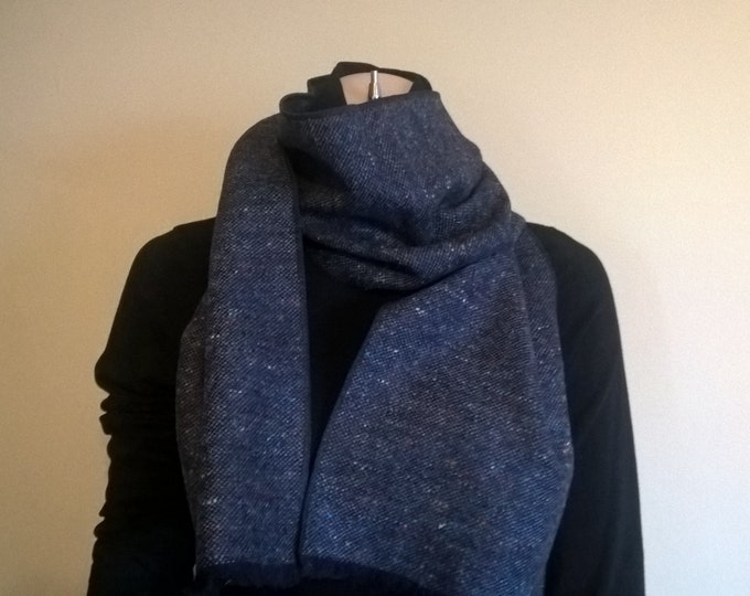 Irish tweed scarf-FREE WORLDWIDE SHIPPING- 100% wool - blue melange - neckerchief - ready for shipping - Handmade in Ireland