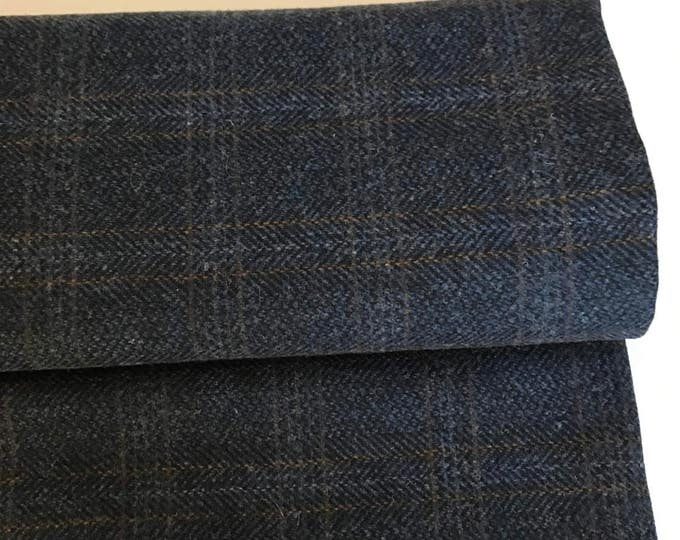 Irish tweed 100% wool fabric-FREE WORLDWIDE SHIPPING-navy herringbone/overcheck-15ozs,450gms-price p/metre-ready 4shipping-Made in Ireland