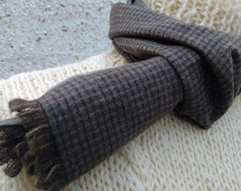 Irish tweed scarf - 100% pure new wool-gray with light brown check-unisex -ready for shipping- neckcloth-neckerchief-Handmade in Ireland
