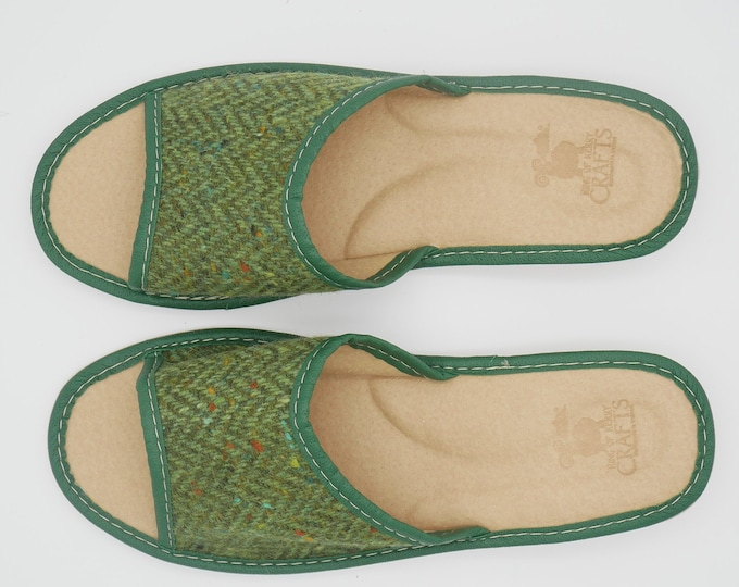 Womens Irish tweed & leather slippers -  open toes -  green herringbone - house shoes - HANDMADE IN IRELAND