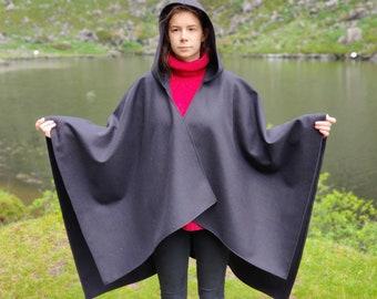 Irish woven wool hooded ruana, Celtic wrap, cape, cloak - 100% pure new wool - black - HANDMADE IN IRELAND