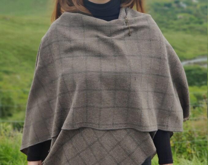 Irish tweed ruana, wrap, cape, cloak, arisaid - dark grey with charcoal check/blue stich - 100% pure new wool - HANDMADE IN IRELAND