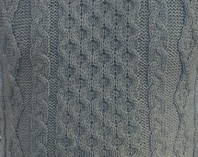 Traditional Aran Sweater - 100% pure new wool - duck egg - chunky&heavy - MADE IN IRELAND - ready for shipping