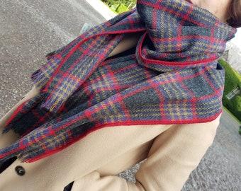 Irish tweed shawl, oversized scarf, stole - graphite/brown/blue/red/yellow tartan, plaid check - 100% pure new wool - HANDMADE IN IRELAND