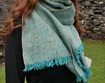 Irish tweed wool shawl, oversized scarf, stole - speckled/melange turquoise-100% wool -hand fringed-ready for shipping - HANDMADE IN IRELAND