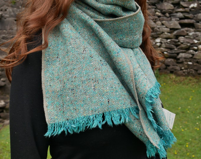 Irish tweed wool shawl, oversized scarf, stole - speckled/melange turquoise-100% wool -hand fringed-ready for shipping - HANDMADE IN IRELAND