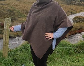 Turtleneck poncho - 100% pure new Irish wool - very warm - brown herringbone- ready for shipping - HANDMADE IN IRELAND