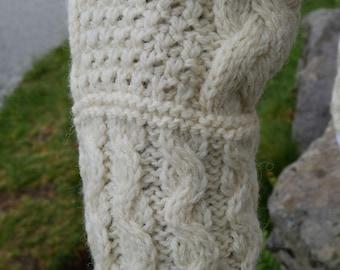 Hooded Aran Zipper cardigan - cream  - 100% pure new wool - MADE IN IRELAND