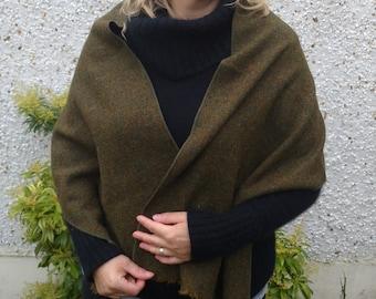 Irish tweed wool shawl-FREE WORLDWIDE SHIPPING-wrap,oversized scarf, stole - brown melange - 100% wool - green/mustard - Handmade in Ireland