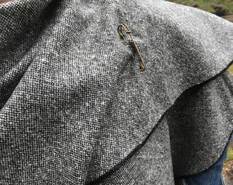 Irish tweed ruana, wrap, cape, coat, arisaid- black / white salt & pepper - 100% wool  - Handmade in Ireland