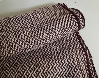 Irish woven wool-FREE WORLDWIDE SHIPPING-white&purple chevron-loose weave-100%wool-15ozs,450gms-price p/metre-ready4shipping-Made in Ireland