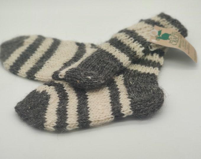 Hand knitted wool socks - 100% raw organic wool -grey/cream -  undyed - unprocessed - ready for shipping - HANDMADE IN IRELAND