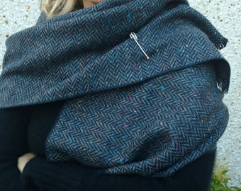 Irish tweed wool shawl - oversized scarf, stole -speckled  navy & blue herringbone - 100% wool -free pin - Handmade in Ireland