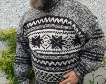 Authentic Irish hand knitted sweater-FREE SHIPPING-gray,black&white-100% raw organic wool-undyed-unprocessed- Hand knitted in Ireland