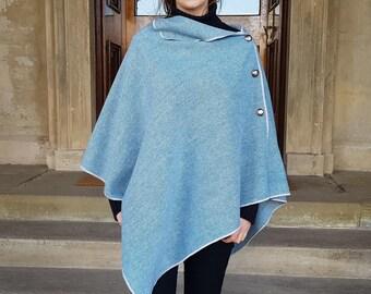 Versatile 3in1-Irish tweed poncho, cape & shawl - teal blue / whit chevron - 100% wool - ready for shipping - HANDMADE IN IRELAND