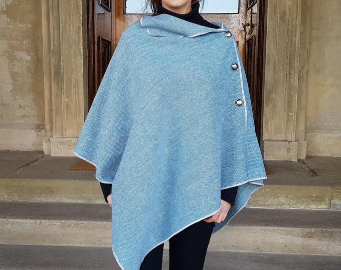 Versatile 3in1-Irish tweed poncho, cape & shawl - teal blue / whit chevron - 100% wool - ready for shipping - HANDMADE IN IRELAND