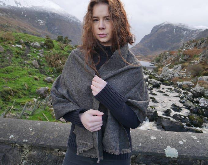 Irish tweed wool shawl-oversized scarf,wrap,stole - black & light brown herringbone - medium weight fabric - 100% wool - Handmade in Ireland
