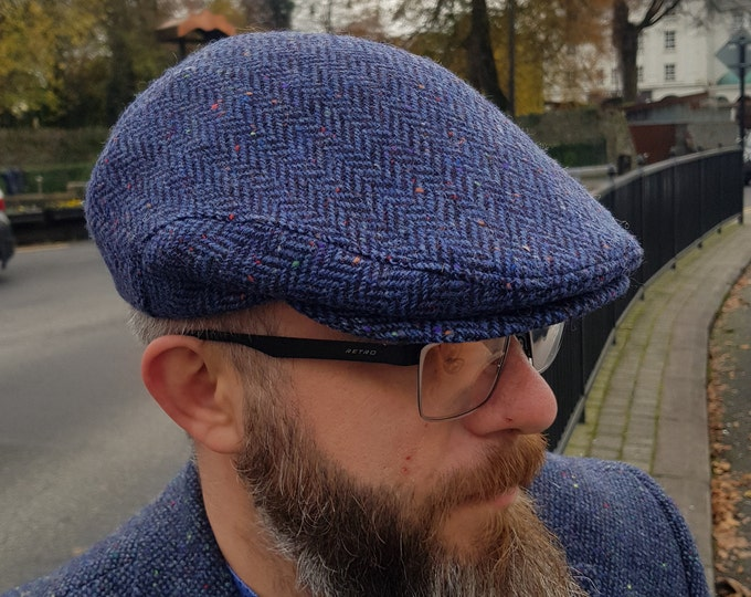 Traditional Irish tweed flat cap - speckled blue/navy  herringbone - 100% wool -padded - ready for shipping -HANDMADE IN IRELAND