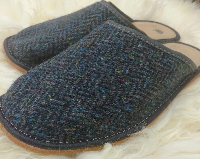 Irish Tweed & genuine leather Mens slippers- FREE SHIPPING- with durable sole - navy herringbone/melange- Made in Ireland-ready for shipping