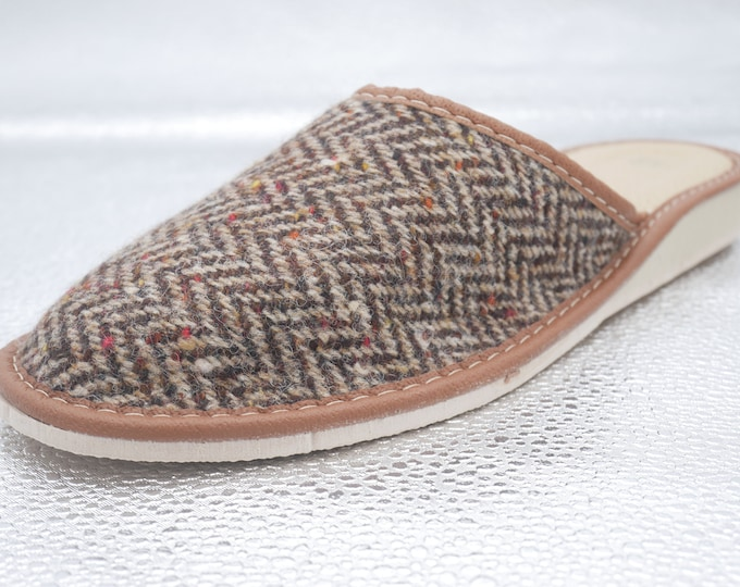 Womens Irish tweed & leather slippers - speckled brown/beige herringbone - ready for shipping -  MADE IN IRELAND