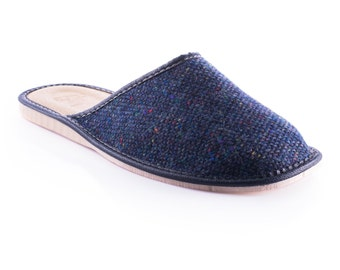 Gents Tweed Slippers - Navy Fleck - ready for shipping - MADE IN IRELAND