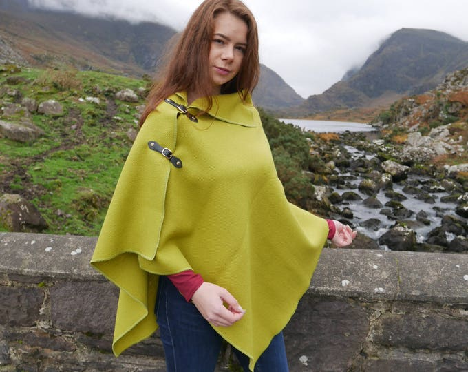 Versatile 3in1 - Irish tweed poncho, cape & shawl - lime green - 100% wool-with buckles-ready for shipping-Handmade in Ireland-FREE SHIPPING