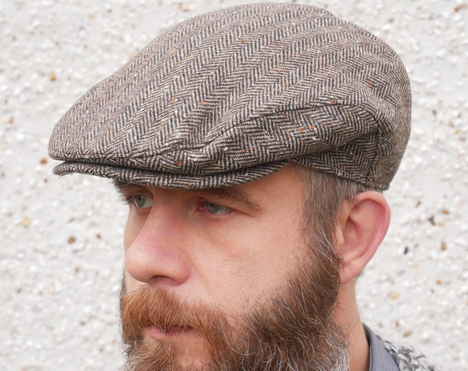Traditional Irish tweed flat cap - brown speckled herringbone - 100% wool -padded - ready for shipping - HANDMADE IN IRELAND