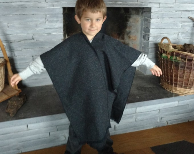 FREE SHIPPING -Irish tweed ruana, celtic wrap, cape, plaid, arisaid - 100% wool-navy&charcoal melange-kids 5-6 years old-Handmade in Ireland