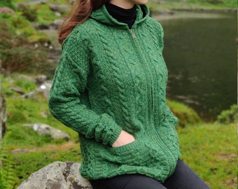 Irish Aran long cardigan with pockets - zipper closure - green - 100% pure new wool - really warm and chunky - MADE IN IRELAND
