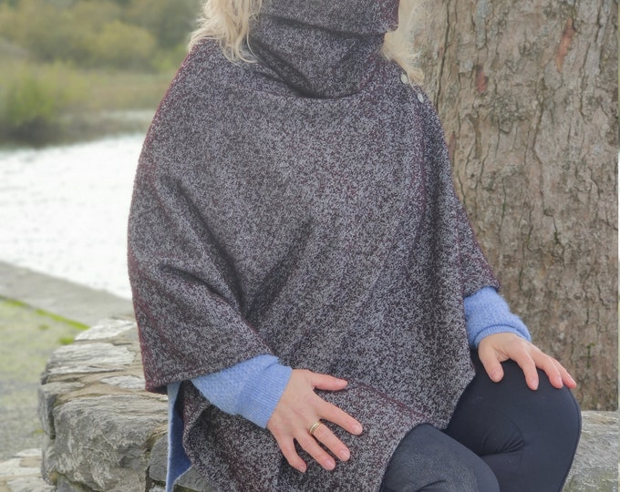 Turtleneck poncho made out of Irish woven wool - 100% pure new wool - very warm - burgundy/grey herringbone -  HANDMADE IN IRELAND