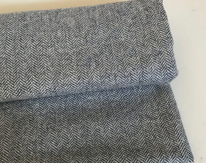 Irish tweed wool fabric-FREE WORLDWIDE SHIPPING-grey herringbone-100%wool-12/13ozs,390gms-price per metre-ready for shipping-Made in Ireland