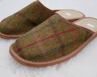 Irish Tweed & genuine leather Mens slippers-FREE SHIPPING-with durable sole-green/mustard with over-check-Made in Ireland-ready for shipping