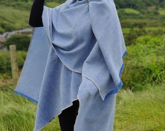 Irish wool ruana, wrap, cape, cloak  - blue/white chevron - 100% pure new wool - HANDMADE IN IRELAND