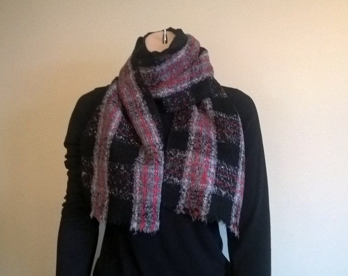 Irish tweed wool scarf - 100% pure new wool - black, red and grey check - ready for shipping - HANDMADE IN IRELAND
