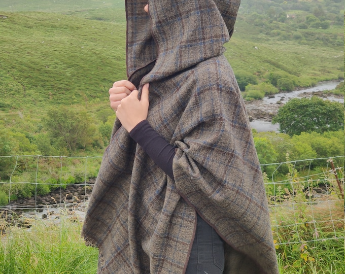 Irish woven wool hooded ruana, wrap, arisaid - brown/baige with blue/brown check, plaid, tartan  - HANDMADE IN IRELAND