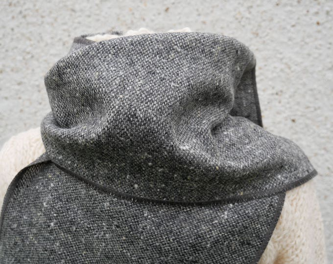 Irish tweed wool scarf -100% pure new wool- gray/charcoal melange - hand fringed -ready for shipping - unisex - Handmade in Ireland